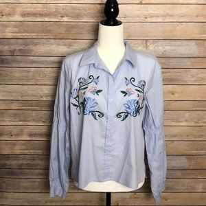 Sanctuary Blue Floral Embroidered Collar Shirt